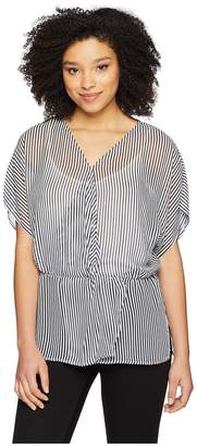 Vince Camuto Drop Shoulder Island Pinstripe Cinch Waist Blouse Women's Blouse