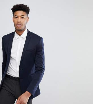 Asos Design Tall Super Skinny Blazer In Navy Jersey