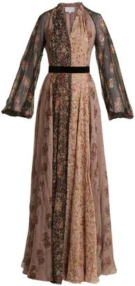 Luisa Beccaria Panelled floral-print silk-chiffon gown