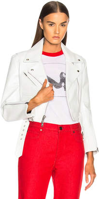 Calvin Klein Shiny Plonge Leather Cropped Jacket