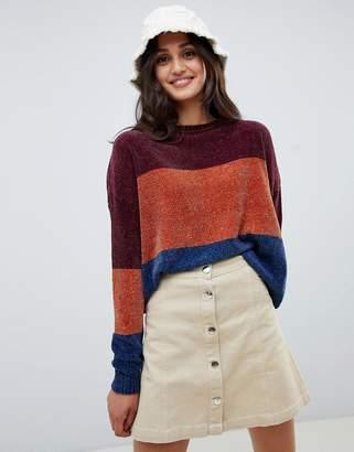 Brave Soul Panda Chenille Sweater in Block Stripe