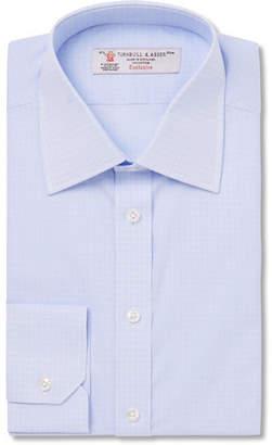 Turnbull & Asser Blue Slim-Fit Checked Cotton Shirt