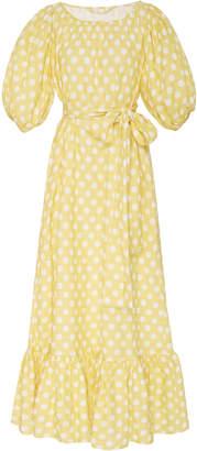 Lisa Marie Fernandez Linen Belted Prairie Linen Midi Dress