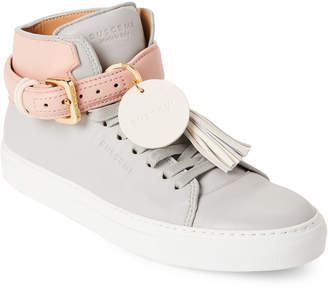 Buscemi Grey & Pink Tassel Leather Mid-Top Sneakers