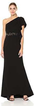 Adrianna Papell Women's One Shoulder Knit Crepe Long Dress Gown