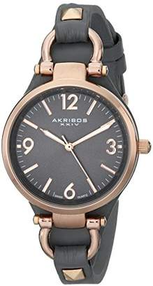 Akribos XXIV Women's AK761GY Swiss Quartz Movement Watch with Dark Gray Engraved Sunburst Dial and Calfskin Leather Strap