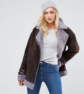 Asos Tall Suede Aviator With Faux Shearling