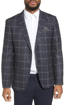 Sand Trim Fit Windowpane Wool Blend Sport Coat