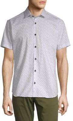 Jared Lang Printed Short-Sleeve Cotton Button-Down Shirt