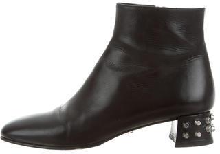 pradaPrada Studded Leather Ankle Boots
