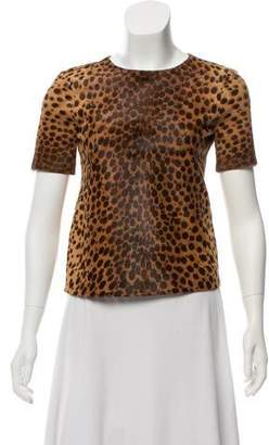Barneys New York Barney's New York Animal Print Ponyhair Top