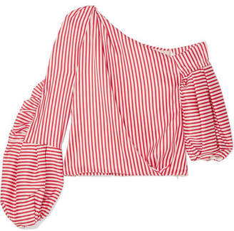 Hellessy Hilda One-shoulder Striped Silk-blend Twill Top - Red
