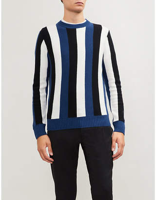 Sandro Striped wool-and-cashmere blend jumper