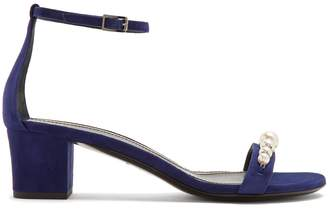 Lanvin Faux-pearl and crystal embellished suede sandals