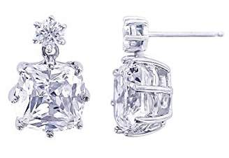 Platinum-Plated Sterling Simulated Diamonds Cushion Drop Earrings