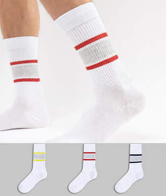 Burton Menswear Socks In White With Stripes 3 Pack