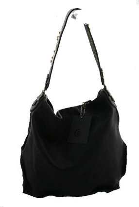 Tylie Malibu Small Capri Bag with Flower Strap in Black Leather