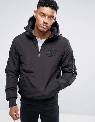 SikSilk Overhead Bomber Jacket In Black