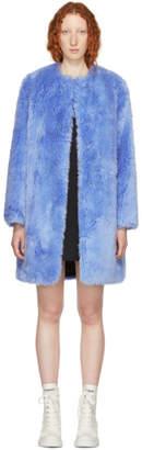 MSGM Blue Faux-Fur Coat