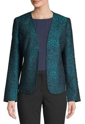 Nipon Boutique Open-Front Jacquard Jacket