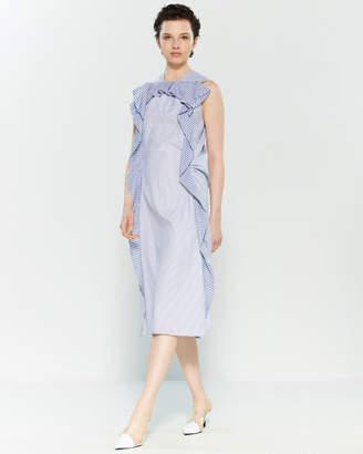 Carven Striped Ruffle Midi Dress