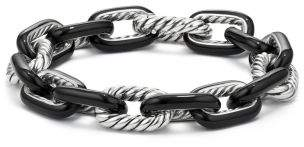 David Yurman Dy Madison® Chain Enamel Large Bracelet In Black