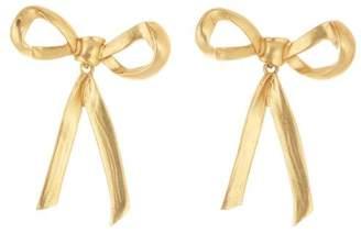 Oscar de la Renta Gold Bow Earrings