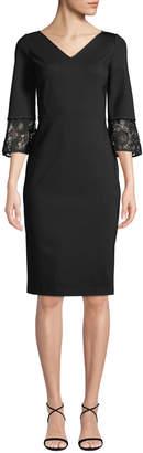 Lafayette 148 New York Lace-Trim 3/4-Sleeve Sheath Dress