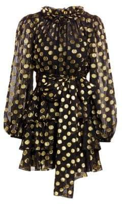 Dolce & Gabbana Dolce& Gabbana Women's Chiffon Fil Coupé Polka Dot Mini Dress - Black Gold - Size 40 (4)