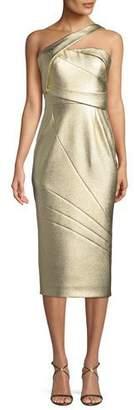 Rubin Singer One-Shoulder Textured Matelasse Cocktail Dress