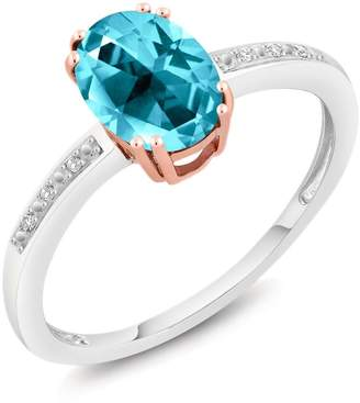 Swarovski Gem Stone King 10K Two-Tone Gold Diamond Women's Ring Natural Paraiba Topaz Cut by Available in size 5,6,7,8,9)