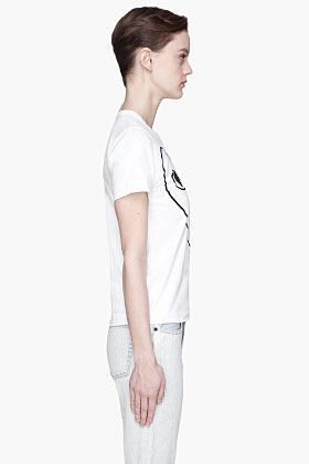 Comme des Garcons White Black Emblem and applique T-Shirt