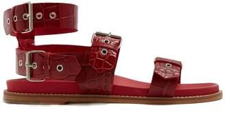 Marques Almeida MARQUES'ALMEIDA Double-strap crocodile-effect leather sandals