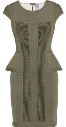 Herve Leger Cutout Mesh-paneled Pointelle-knit Peplum Mini Dress
