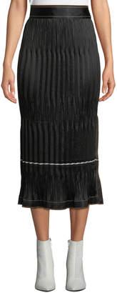 Crinkle Pleated Side-Slit Midi Skirt