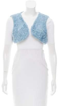 Oscar de la Renta Cropped Lamb Fur Vest w/ Tags