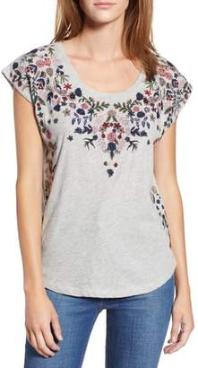 Lucky Brand Floral Garden Embroidered Tee