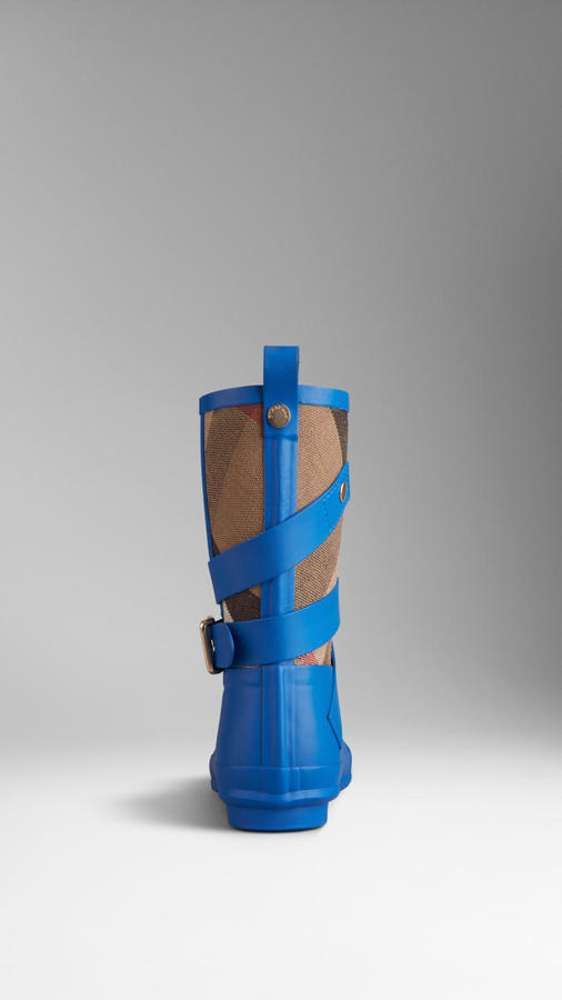 Burberry Check Detail Belted Rain Boots