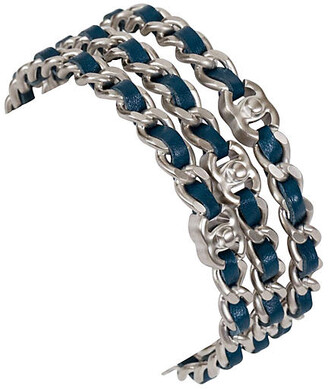 One Kings Lane Vintage Chanel Silver & Blue Bangles - Set of 3 - Vintage Lux