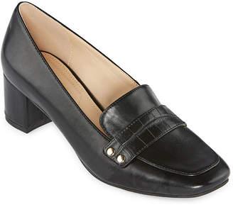 Liz Claiborne Womens Medina Slip-on Square Toe Block Heel Pumps
