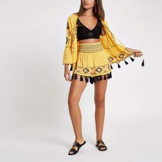 River Island Yellow aztec embroidered beach shorts
