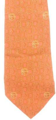 Hermes Tribal Mask Print Silk Tie