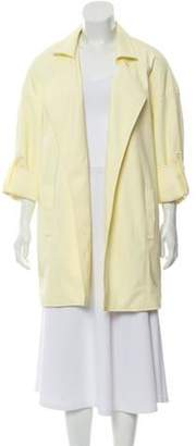 Sally LaPointe Matte Coated Knee-Length Car Coat w/ Tags Yellow Matte Coated Knee-Length Car Coat w/ Tags
