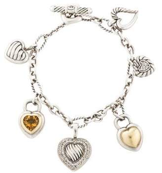 David Yurman Diamond & 1.65ct Citrine Heart Charm Bracelet silver Diamond & 1.65ct Citrine Heart Charm Bracelet