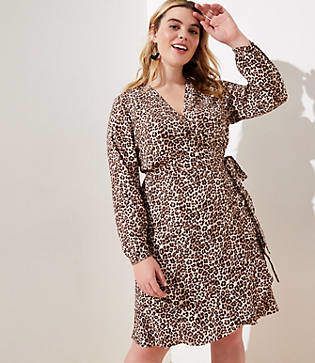 LOFT Plus Leopard Print Ruffle Wrap Dress