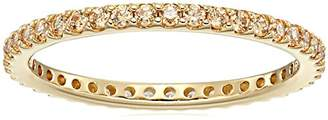 Swarovski Gold-Plated Sterling Silver Zirconia Round Cut Eternity Band Ring