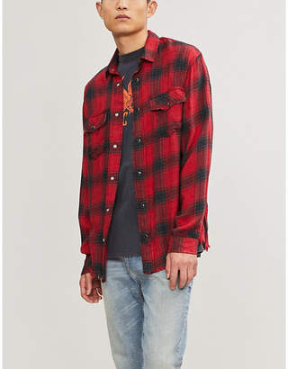 The Kooples Embroidered frayed checked woven shirt
