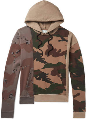 Off-White Panelled Camouflage-Print Cotton-Jersey Hoodie