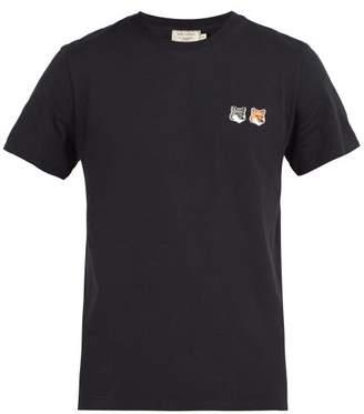 MAISON KITSUNÉ Fox Logo Applique Cotton T Shirt - Mens - Charcoal