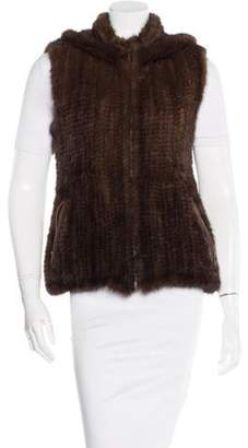 Belle Fare Knit Mink Hooded Vest Brown Knit Mink Hooded Vest
